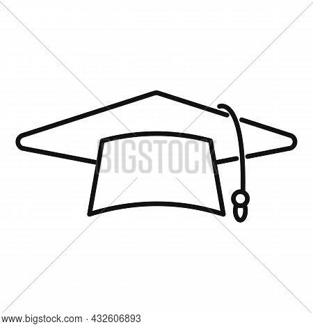 Graduate Hat Icon Outline Vector. School College. Academic Cap