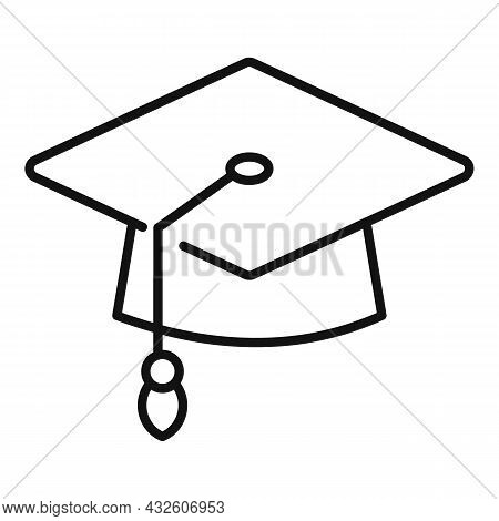 Degree Hat Icon Outline Vector. University Diploma. Student Academy