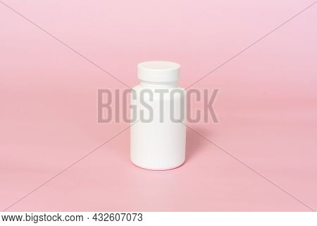 Jar For Vitamins Or Dietary Supplements Mockup Pink Background