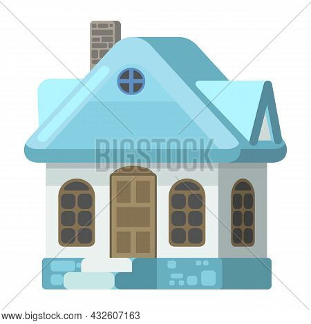 Small Country House With Light Stone Walls And Blue Roofs. Funny Cartoon Style. Country Suburban Vil