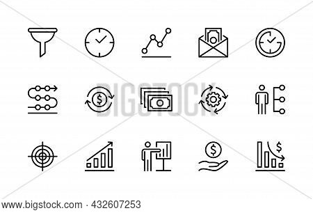 Business And Finance Vector Linear Icons. Business Management. Business Icon Collection For Websites