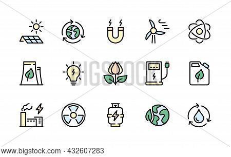 Energy Vector Line Icons. Isolated Collection Colored Energy Icons On White Background. Energy Type