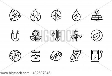 Eco Energy Vector Line Icons. Isolated Icon Collection Of Ecologically Clean Energy On White Backgro