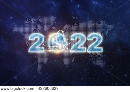 Happy New Year 2022 Text Design On World Map, Star, Space. Happy New Year 2022 And Earth Sign Over W