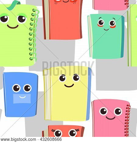 Books, Notebooks And Notepads. Cheerful Cute Cartoon Character. Isolated On White Background Childre