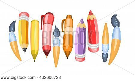 Stationery Assortment. Horizontal Composition. Brushes And Pencils. Cartoon Funny Style. Isolated On