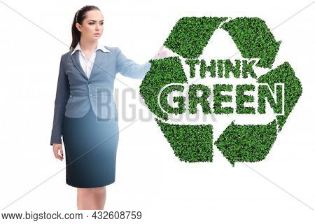 Think green ecological concept with businesswoman