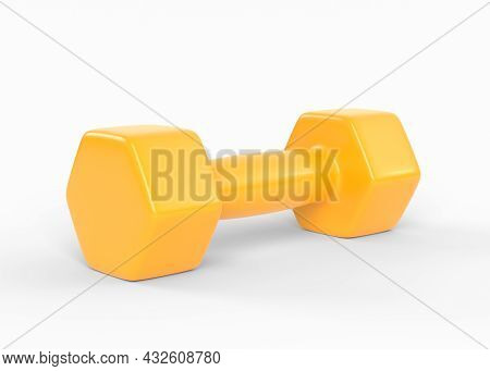 Fitness Dumbbell. Yellow Color Rubber Or Plastic Coated Dumbbell Weights Isolated On White Backgroun