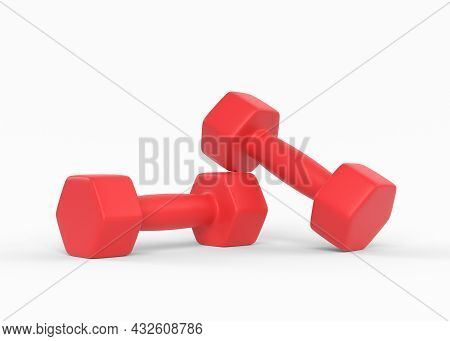 Fitness Dumbbells Pair. Two Red Color Rubber Or Plastic Coated Dumbbell Weights Isolated On White Ba