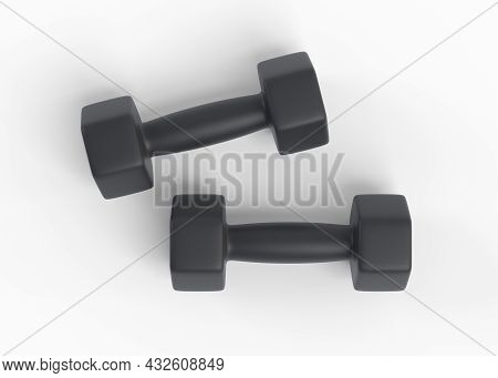 Fitness Dumbbells Pair. Two Black Color Rubber Or Plastic Coated Dumbbell Weights Isolated On White