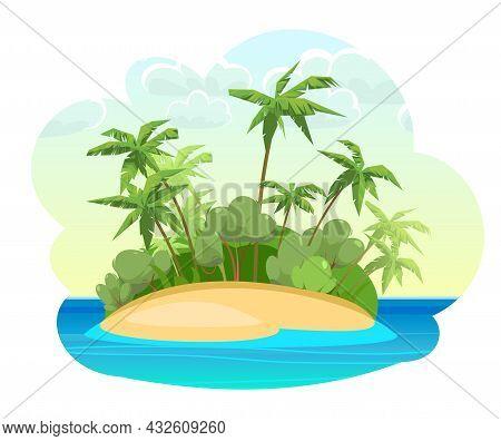 Green Island In The Ocean. Cartoon Style. Blue Calm Sea. Jungle Palm Trees. Flat Design Illustration