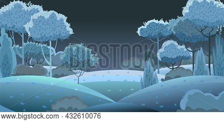 Silhouette Night Landscape. Beautiful Scenic Plant. Darkness. Leaves. Cartoon Style. Hills With Gras