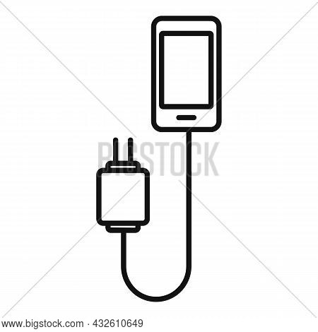 Cellphone Charger Icon Outline Vector. Phone Battery. Cell Mobile