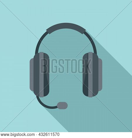 Care Headset Icon Flat Vector. Gamer Microphone. Call Support
