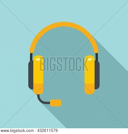 Person Headset Icon Flat Vector. Gamer Headphone. Service Center