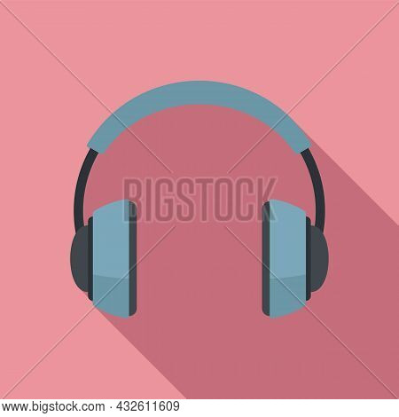 Audio Headset Icon Flat Vector. Gamer Service. Call Support