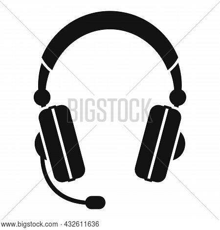 Headphones Icon Simple Vector. Gamer Microphone. Customer Service