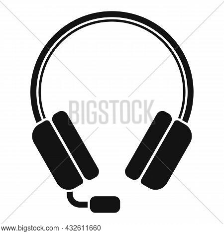 Operator Headset Icon Simple Vector. Headset Microphone. Call Support