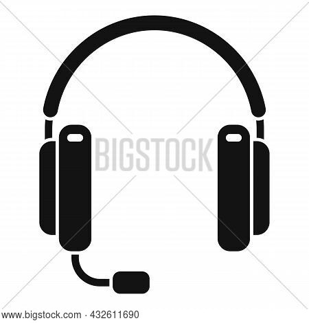 Person Headset Icon Simple Vector. Gamer Headphone. Service Center