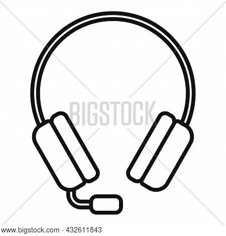 Game Headset Icon Outline Vector. Headphone Microphone. Customer Gamer