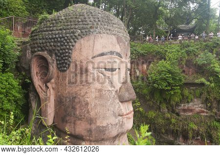June 24, 2018.  Leshan, China.  The Ancient Leshang Giant Buddha Statue Located In Shizhong District
