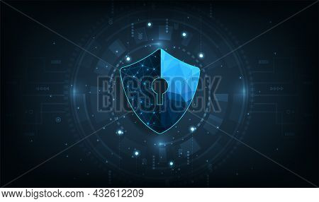 Internet Network Protection And Cyber Security Concept.computer Protection Virus Attack With Shield