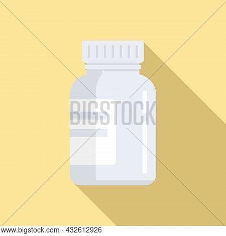 Bio Lactic Jar Icon Flat Vector. Prebiotic Microbe. Good Bacterium
