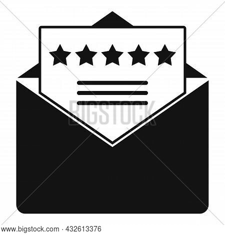 Mail Product Review Icon Simple Vector. Online Evaluation. Customer Star