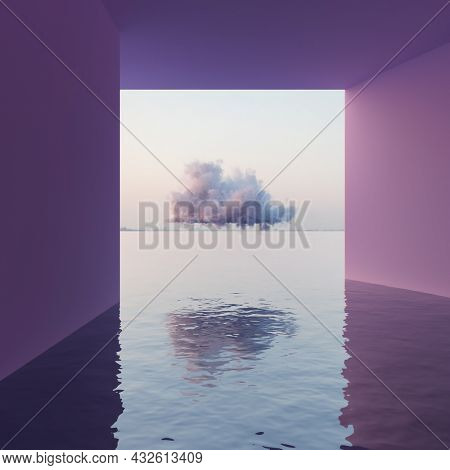 Surreal concept of seascape, building with cloud in the sea at sunset. 3D illustration, rendering.