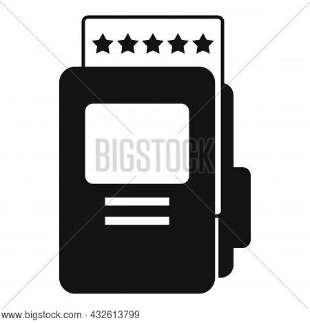 Folder Product Review Icon Simple Vector. Online Evaluation. Customer Star