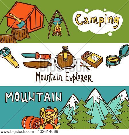 Camping Banners Horizontal Set With Mountain Explorer Hand Drawn Elements Isolated Vector Illustrati