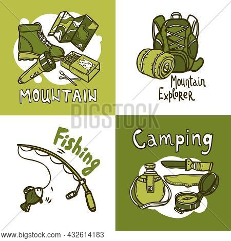 Camping Design Concept Set With Hand Drawn Mountain Explorer And Fishing Icons Isolated Vector Illus