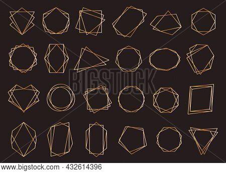 Gold Geometric Frames, Diamond Shapes Polygonal Crystals. Retro Golden Borders, Elegant Polygon Line