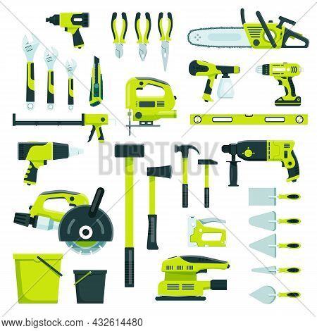 Working Tools, Construction And Repair Equipment, Building Instruments. Hammer, Wrench, Pliers, Home