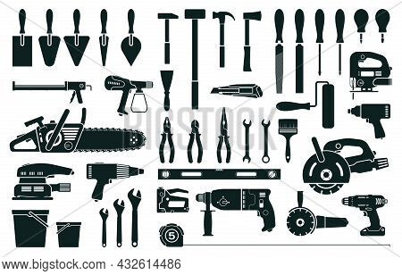 Construction Tools, Home Repair Or Renovation Instruments Silhouette. Hammer, Screwdriver, Drill, Pl