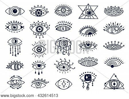 Mystic Evil Eyes Doodles, Spiritual Turkish Eye Symbol. Hand Drawn Esoteric Magic Eye, Ornamental Am