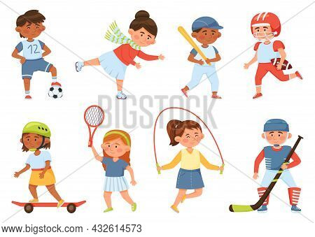 Cartoon Happy School Children Playing Sports And Exercising. Sport Activities For Kids Baseball, Ski