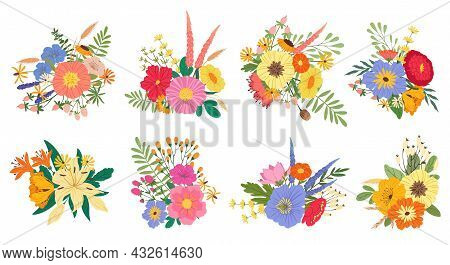 Spring Blooming Flower Bouquets, Floral Wedding Bouquet. Flowering Lilies, Peonies And Wildflowers,