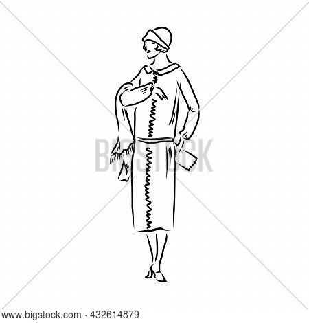 Ladies And Gentlemen. Man And Woman Figure Collection. Vintage Hand Drawn Clothing. Retro Illustrati