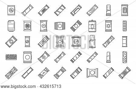 Snack Bar Icons Set Outline Vector. Candy Product. Snack Bar Food