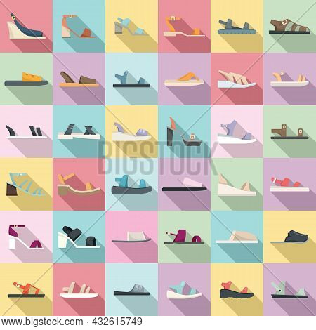 Sandals Icons Set Flat Vector. Foot Shoes. Feet Accessory