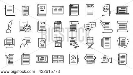 Scenario Icons Set Outline Vector. Event Fabrications. Video Moving