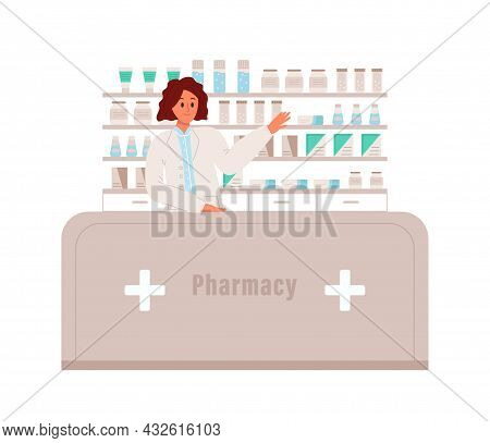 Pharmacist Stands And Points To The Medication