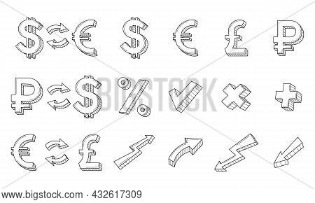 A Set Of Linear Business, Icons. Currency Exchange Symbols, Ruble, Dollar, Euro, Pound, Arrows. The