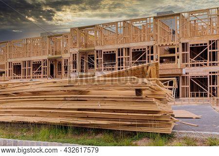 Frame Walls Beam Built Framework Frame House Attic Under Construction Interior Inside