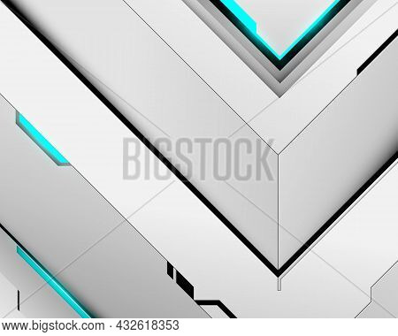 Abstract White Geometric Technology Digital Hi Tech Concept Background. Vector Illustration