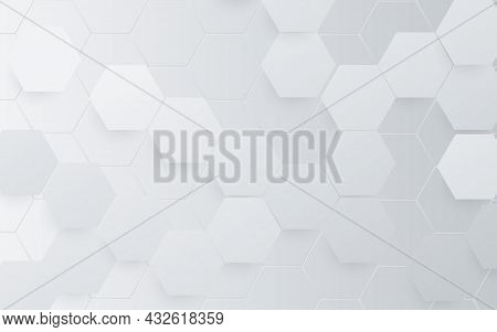 Abstract White Hexagon Technology Digital Hi Tech Concept Background. Futuristic Technology With Hea