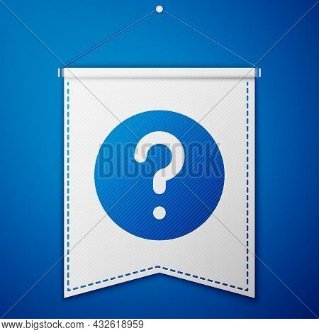 Blue Unknown Search Icon Isolated On Blue Background. Magnifying Glass And Question Mark. White Penn