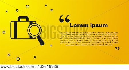 Black Airline Service Of Finding Lost Baggage Icon Isolated On Yellow Background. Search Luggage. Ve