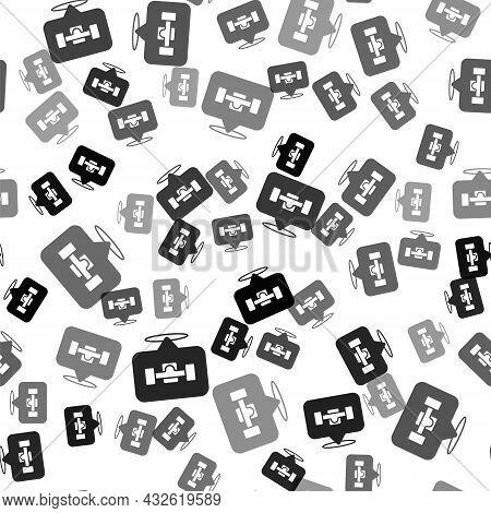 Black Skateboard Wheel Icon Isolated Seamless Pattern On White Background. Skateboard Suspension. Sk